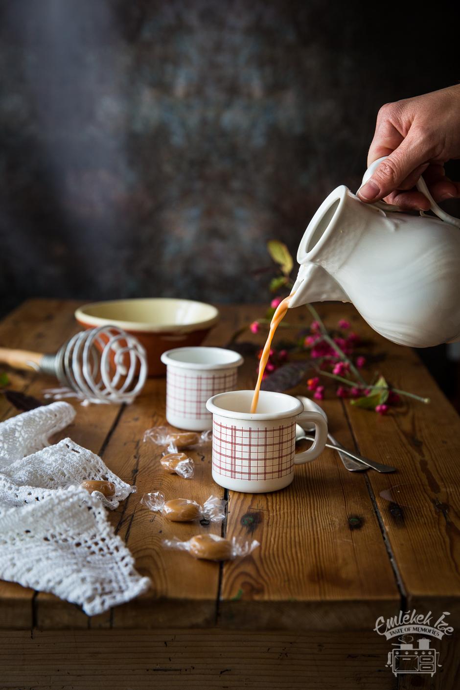 forró karamellital az Emlékek Íze konyhájából